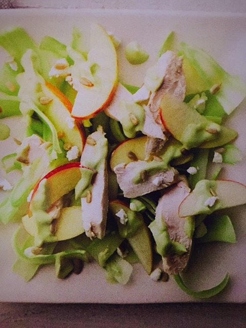 Shaved Broccoli-Stem Salad with Chicken and Lemon-Avocado Dressing